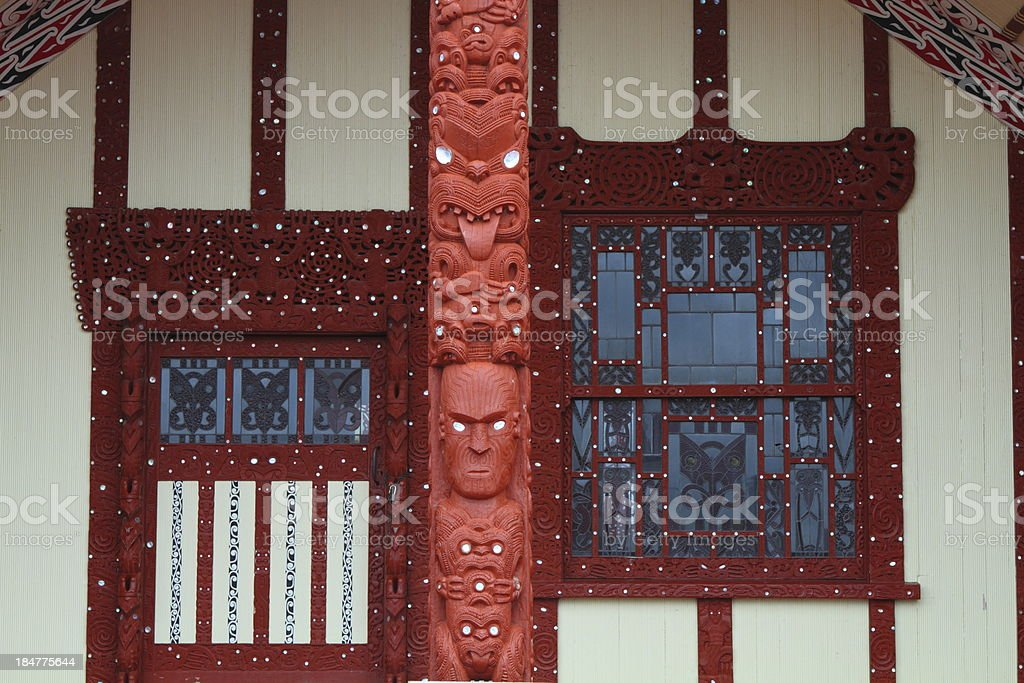 Maori house in Rotorua royalty-free stock photo
