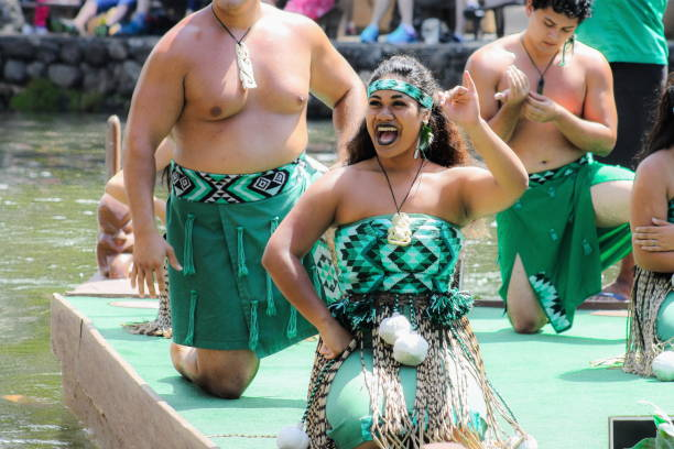 maori performers during the  'rainbows of paradise' pageant - maori stock photos and pictures