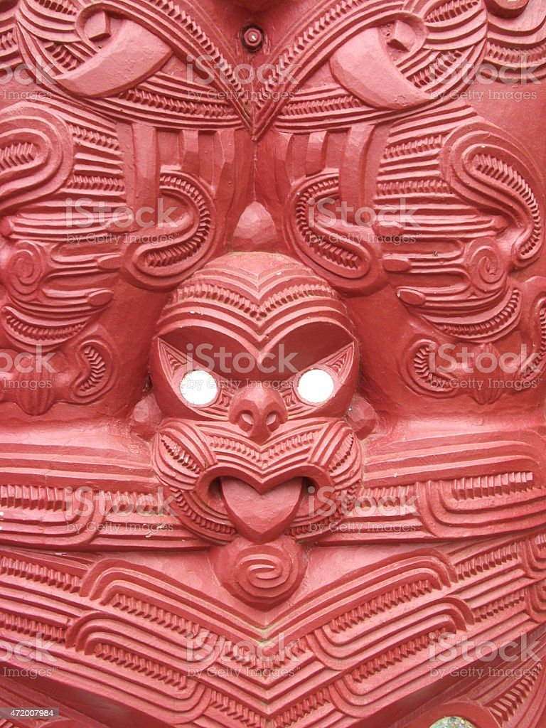 Maori wood carving New Zealand stock photo