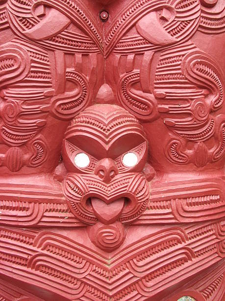 Maori wood carving New Zealand stock photo