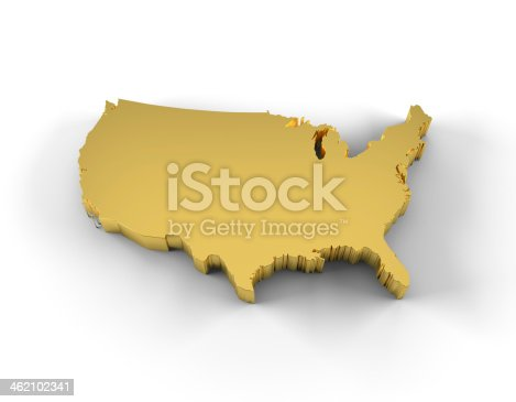 450754061 istock photo USA map 3D gold with clipping path 462102341