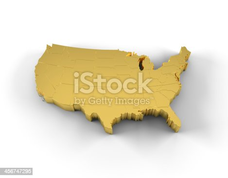 450754061 istock photo USA map 3D gold with states and clipping path 456747295