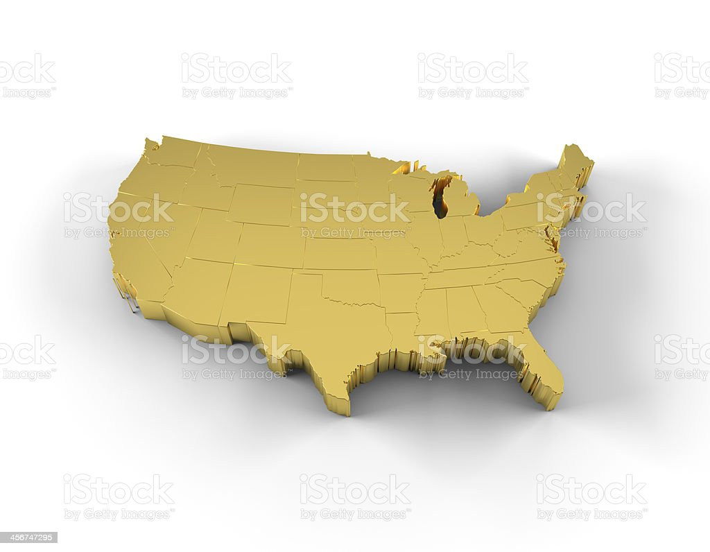 USA map 3D gold with states and clipping path stock photo