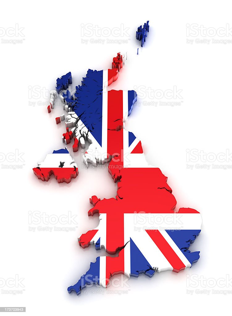 UK map - 3D royalty-free stock photo