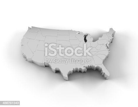 450754061 istock photo USA map 3D silver with states and clipping path 456261343