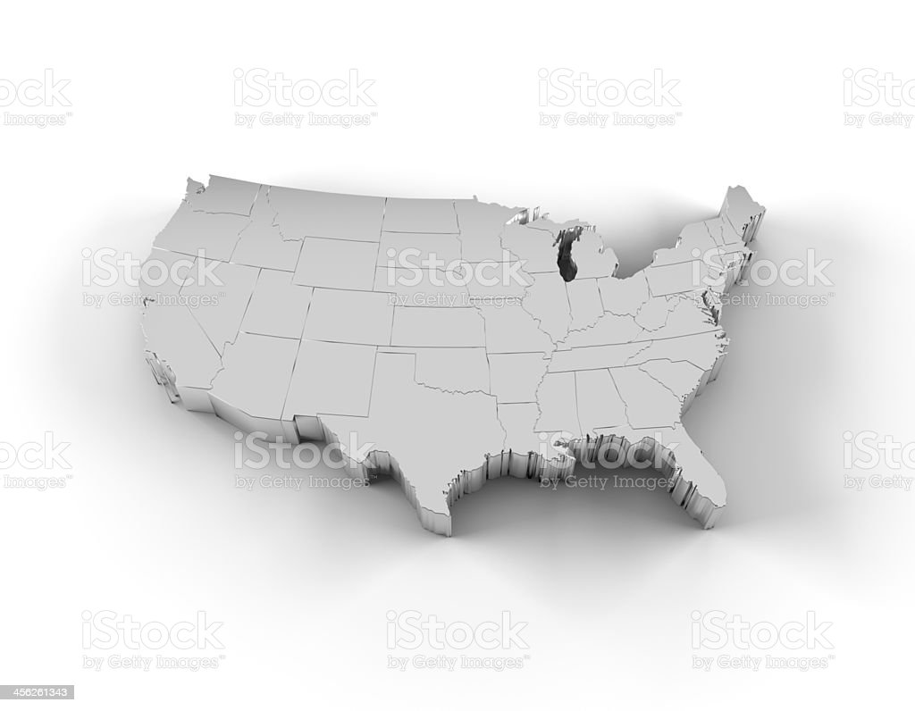 USA map 3D silver with states and clipping path stock photo