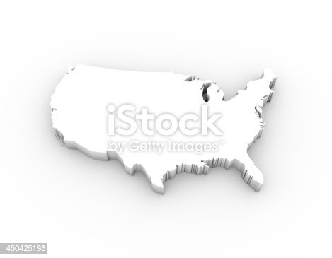 450754061 istock photo USA map 3D white and with clipping path 450425193