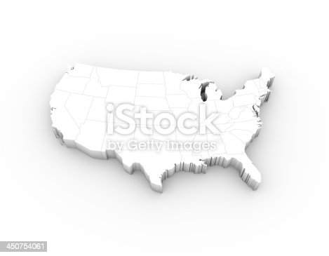 450754061 istock photo USA map 3D white with states and clipping path 450754061