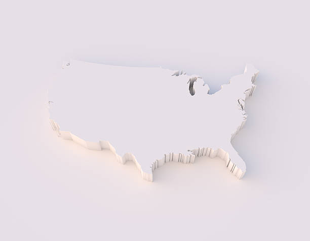 USA map 3D with clipping path stock photo