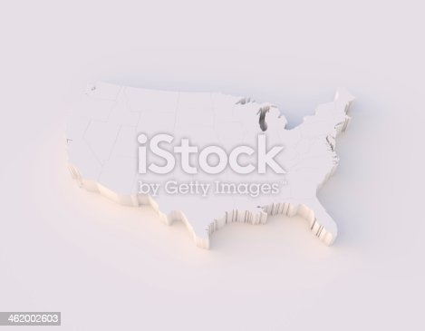 istock USA map 3D with states and clipping path 462002603