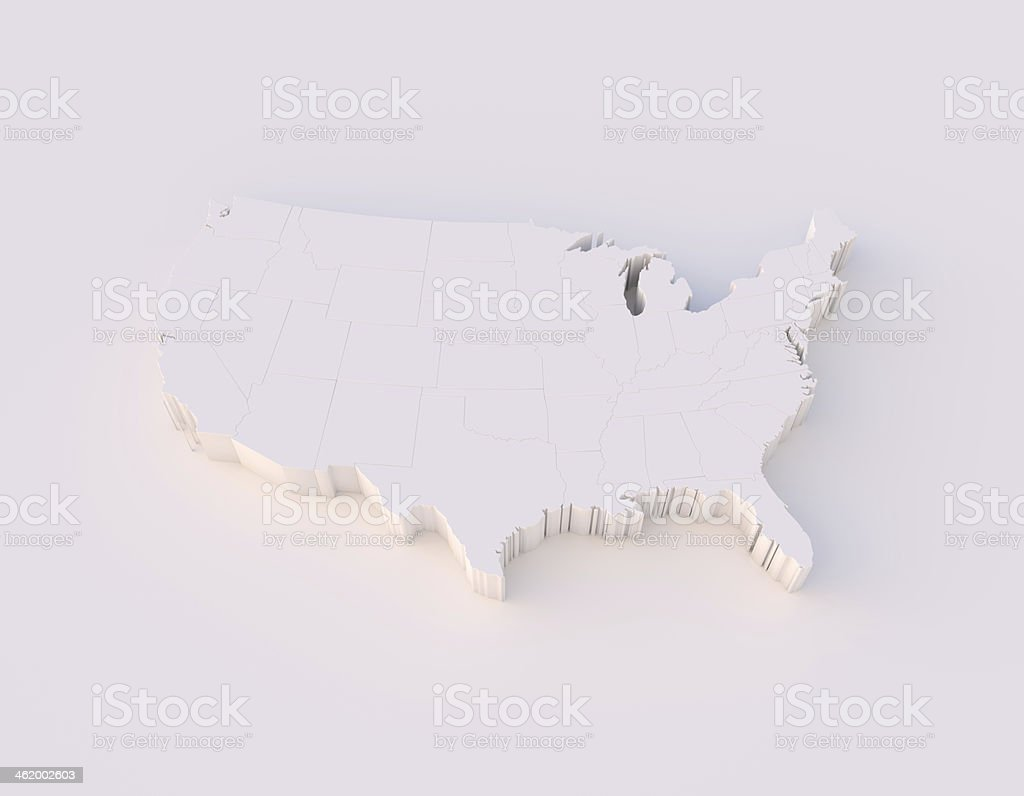 USA map 3D with states and clipping path stock photo