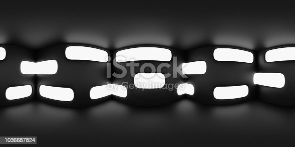 istock HDRI map, abstract spherical environment panorama background in shades of black and white, interior light source  rendering (3d equirectangular render) 1036687824