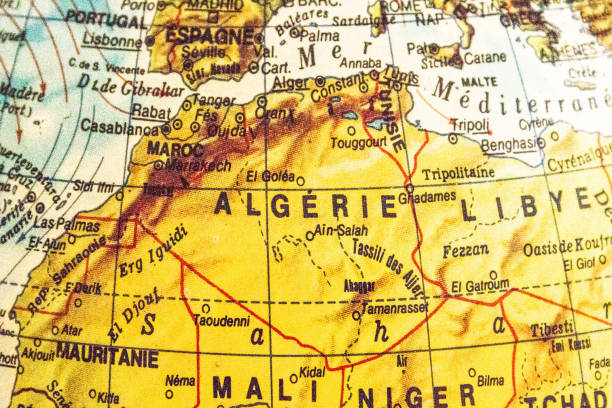 map africa ageria - north africa stock photos and pictures