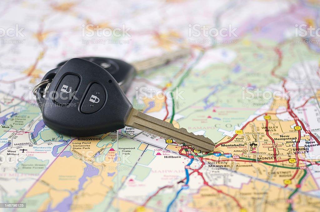 Map and car keys royalty-free stock photo