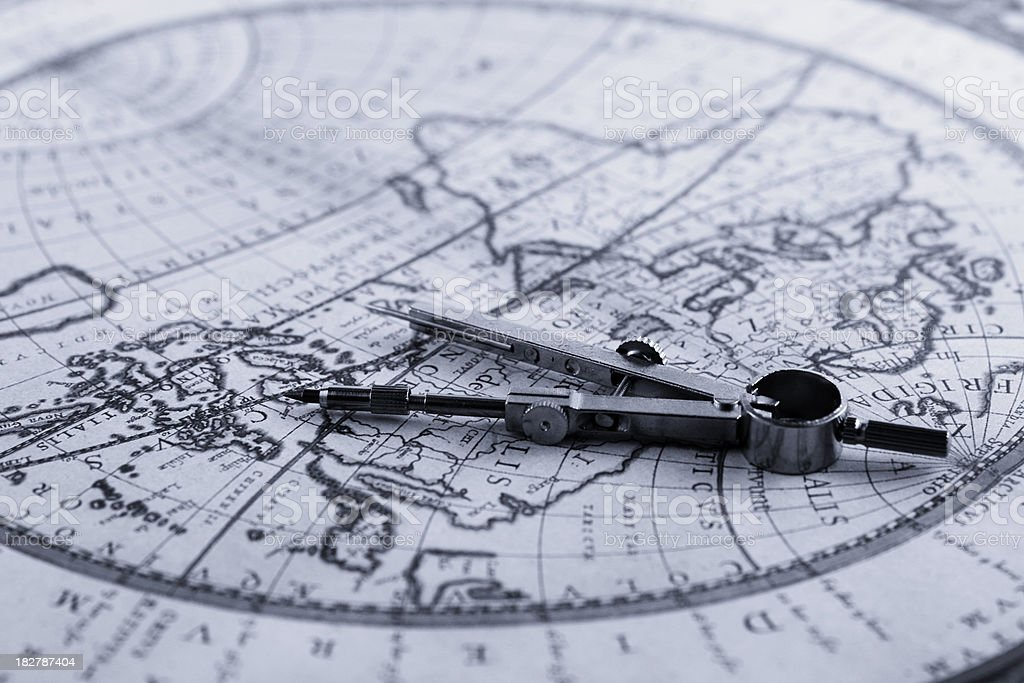 Map and compass royalty-free stock photo