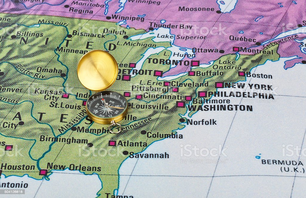 Estados Unidos mapa e uma bússola - foto de acervo