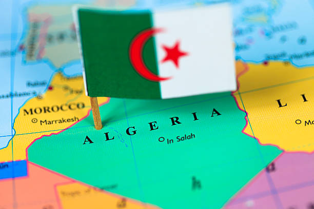 map and flag of algeria - algeria stock photos and pictures