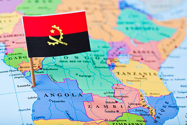 map and flag of angola - angola stock photos and pictures