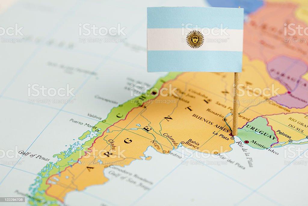 Bandera y mapa de Argentina - foto de stock