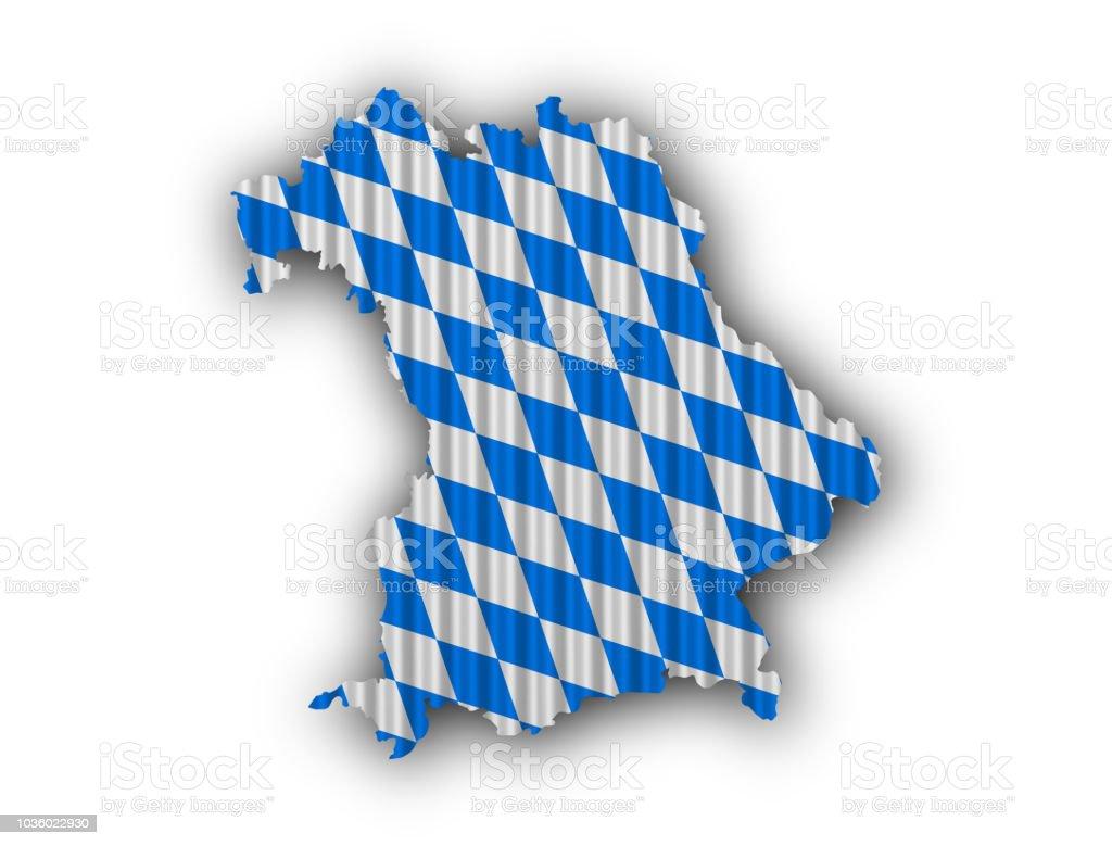 Karte und Flagge von Bayern auf Wellblech – Foto