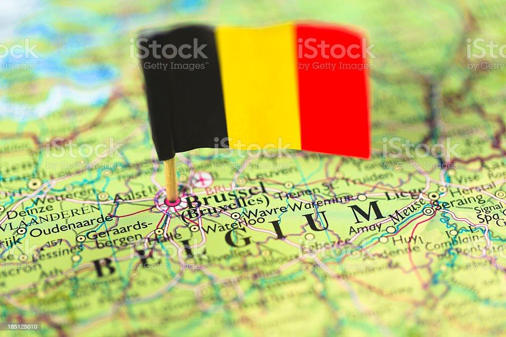 Carte et drapeau de Belgique - Photo