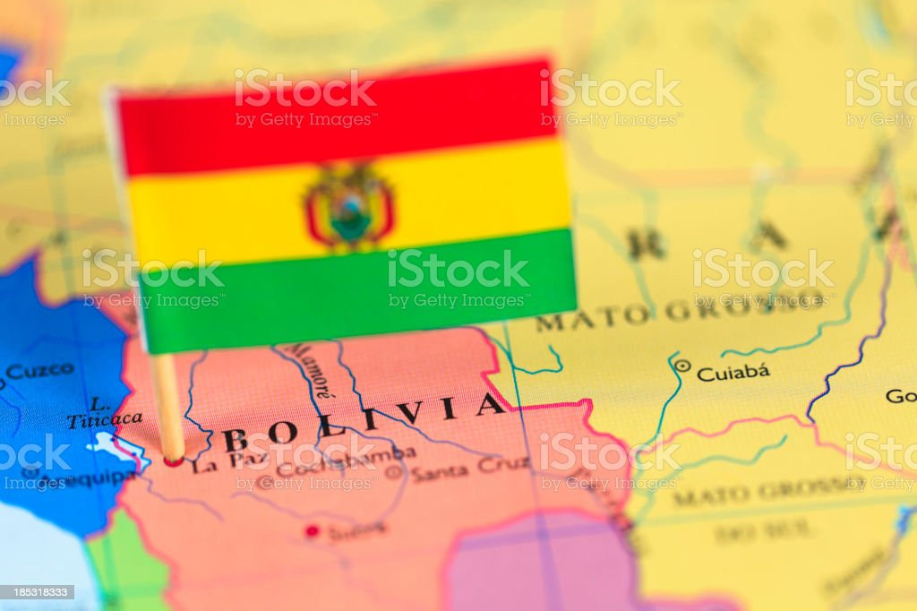 Map and flag of Bolivia stock photo