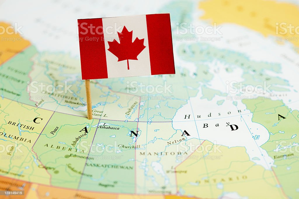 Map and Flag of Canada stock photo