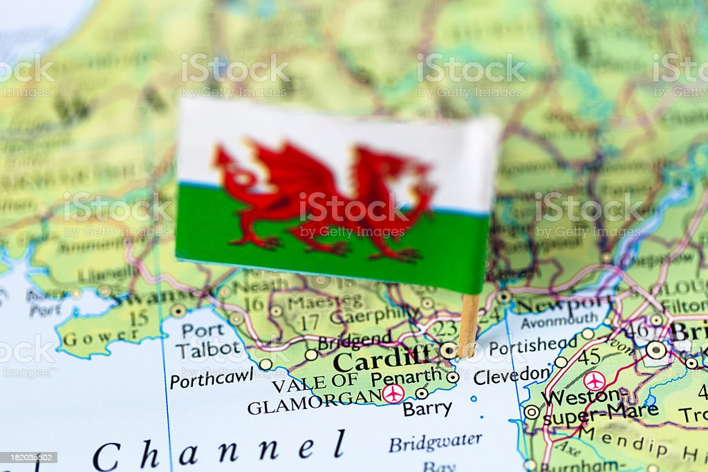 Map and flag of Cardiff, Wales stock photo