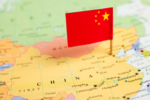 Map And Flag Of China Stock Photo - Download Image Now