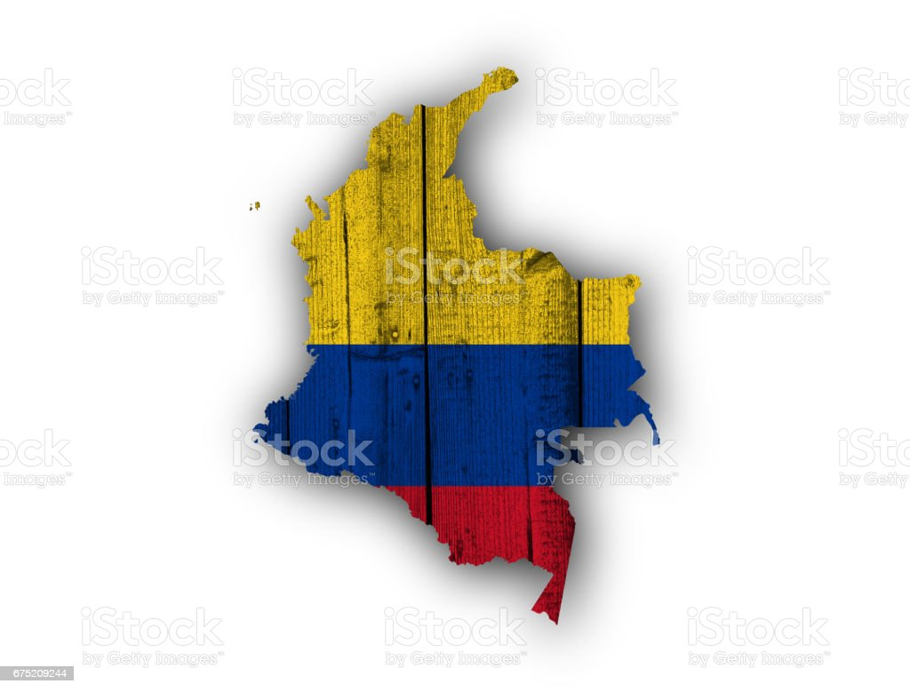 Map and flag of Colombia on weathered wood royalty-free stock photo