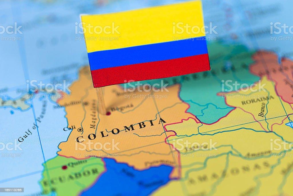Bandera y mapa de Colombia - foto de stock