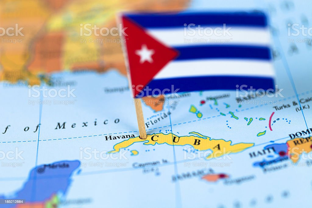 Map and flag of Cuba stock photo