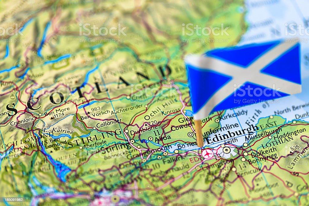 Map and flag of Edinburgh, Scotland stock photo