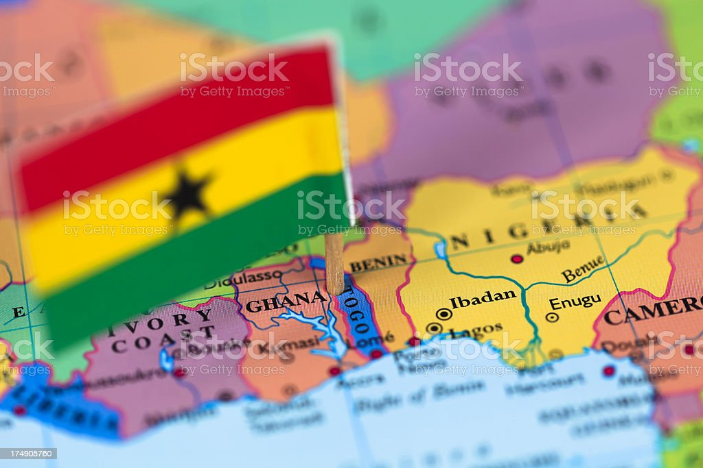 Map and flag of Ghana stock photo