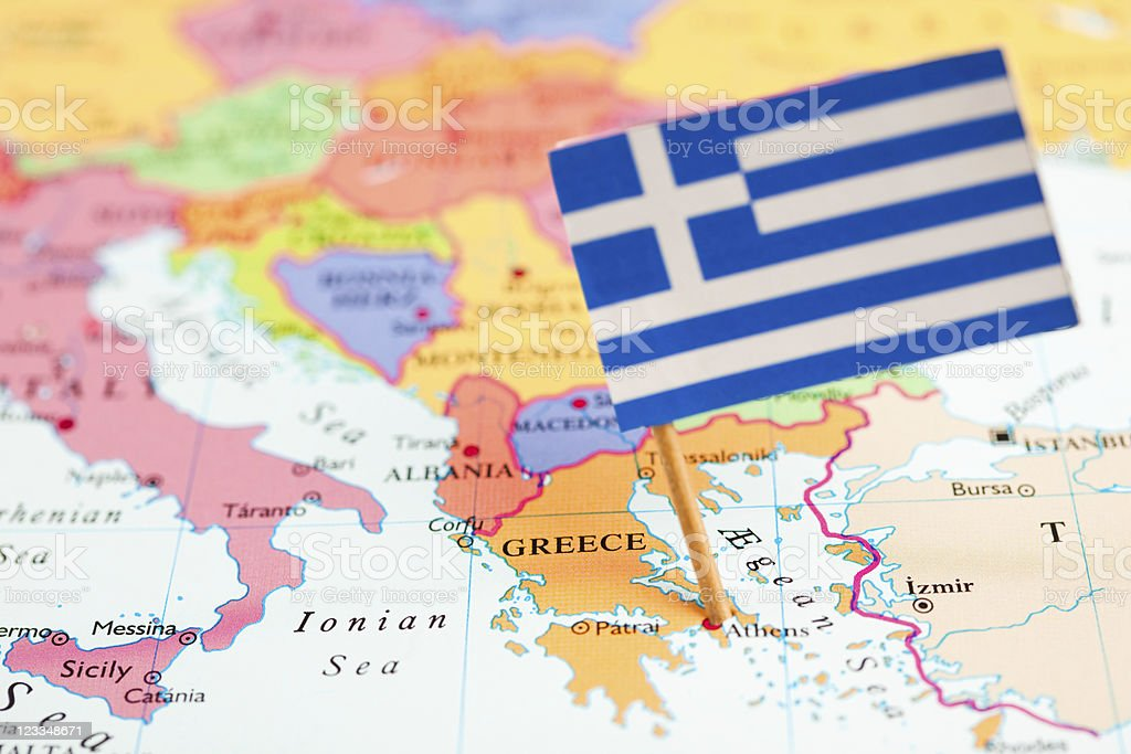 Map and Flag of Greece royalty-free stock photo