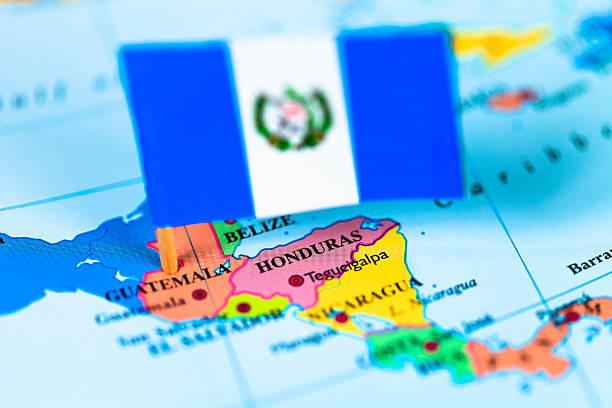 Mapa y bandera de Guatemala - foto de stock