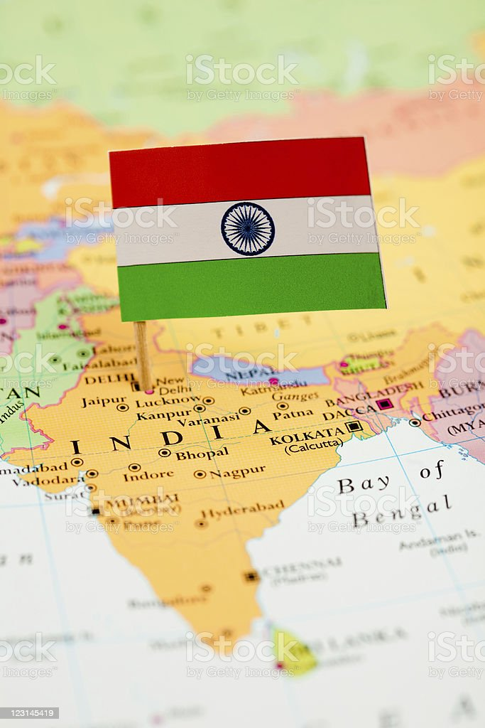 Map and Flag of India royalty-free stock photo