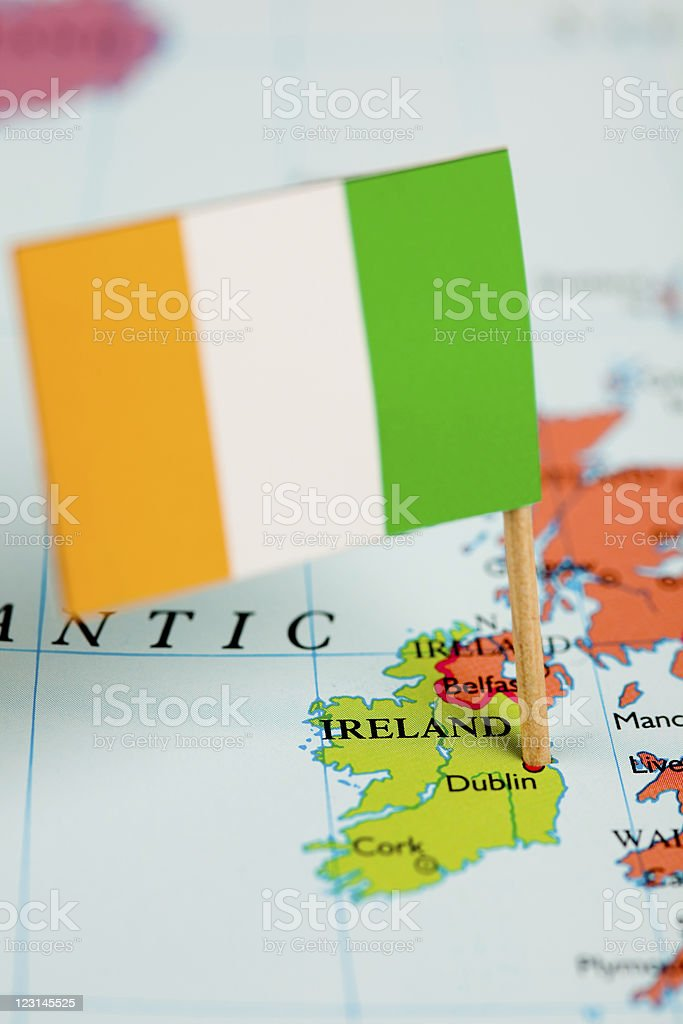 Map and Flag of Ireland stock photo