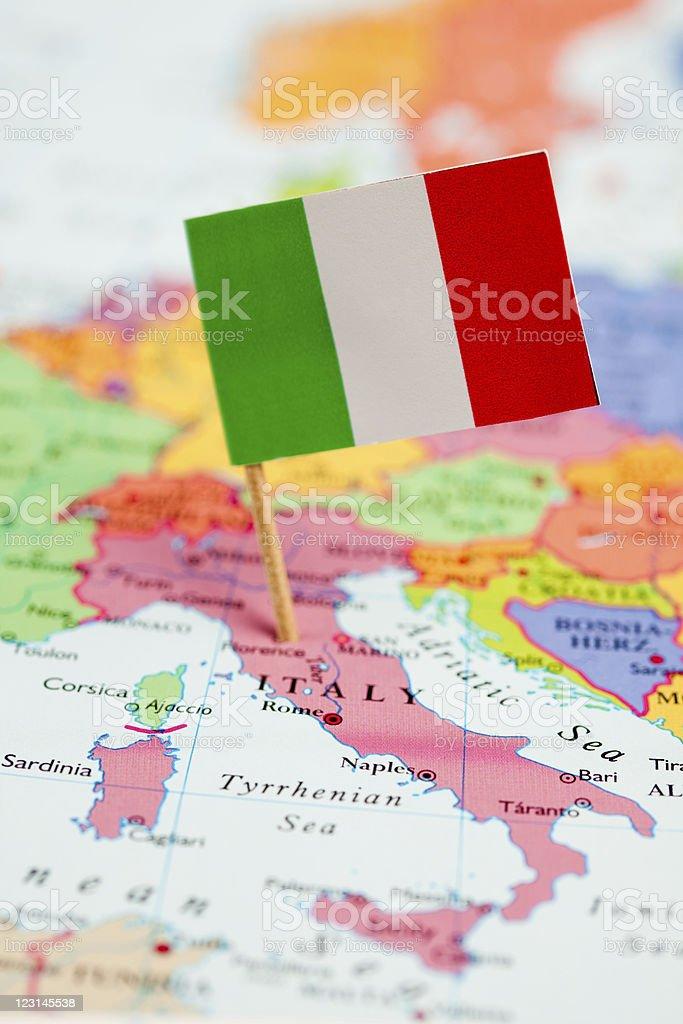 Bandera y Mapa de Italia - foto de stock