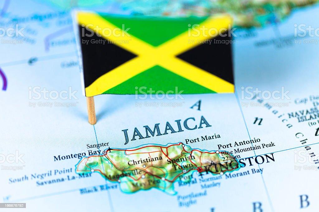 Mapa e a bandeira da Jamaica - foto de acervo