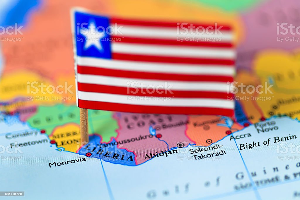Map and flag of Liberia stock photo