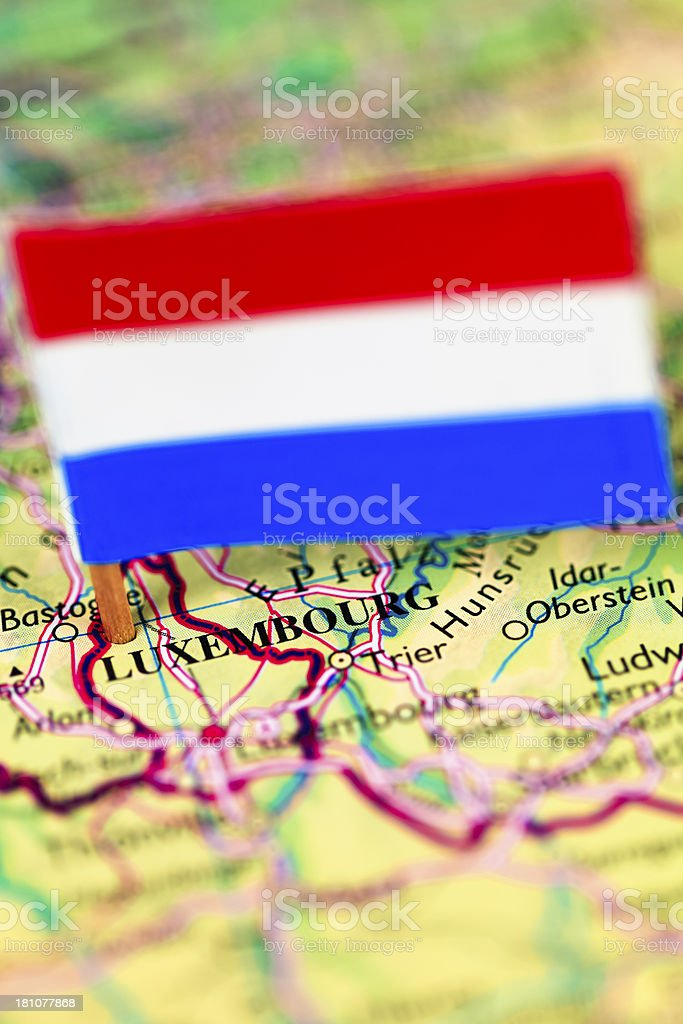 Map and flag of Luxembourg royalty-free stock photo