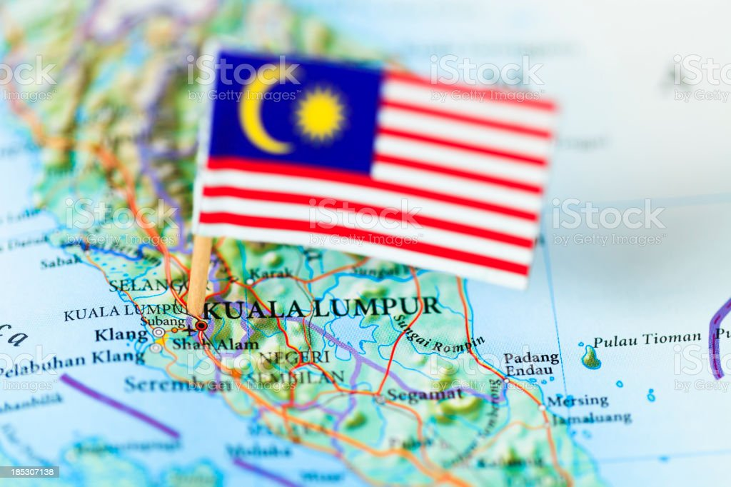 Mapa e a bandeira da Malásia - foto de acervo
