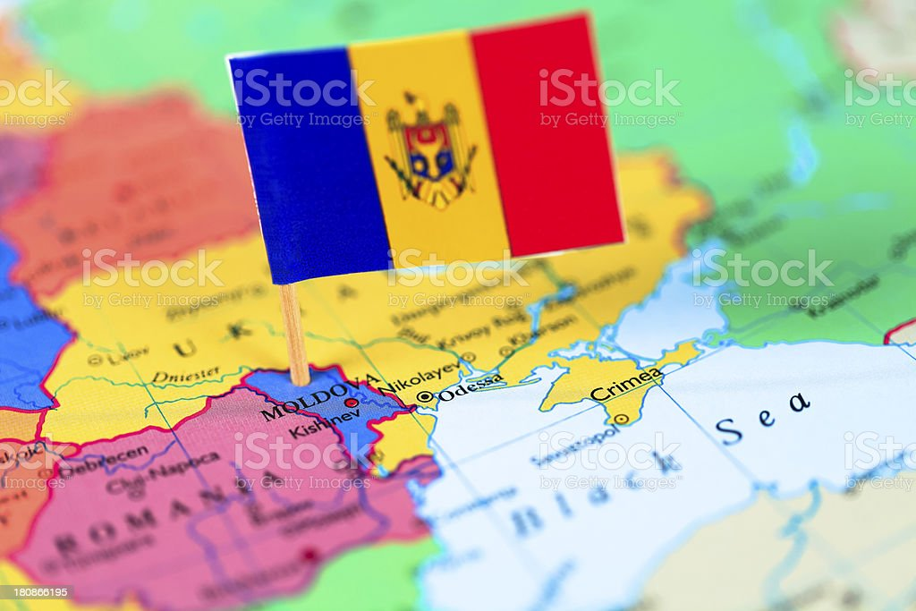 Map and flag of Moldavia stock photo