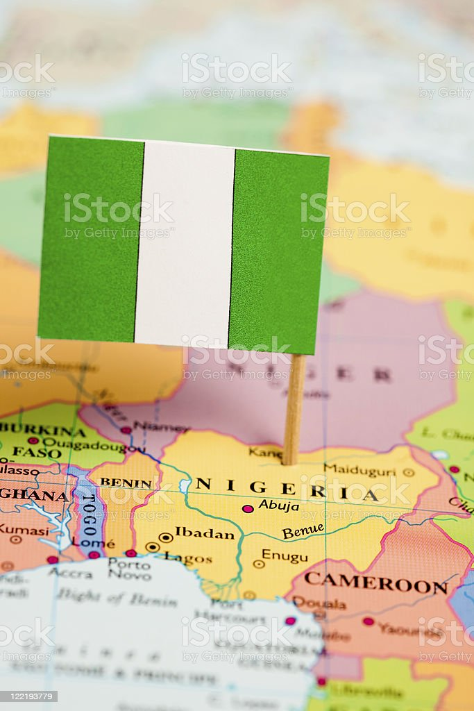 Map and Flag of Nigeria royalty-free stock photo