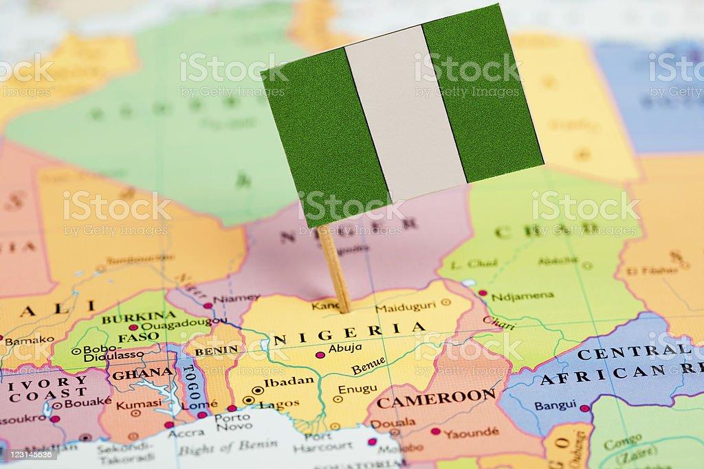 Bandera y mapa de Nigeria - foto de stock