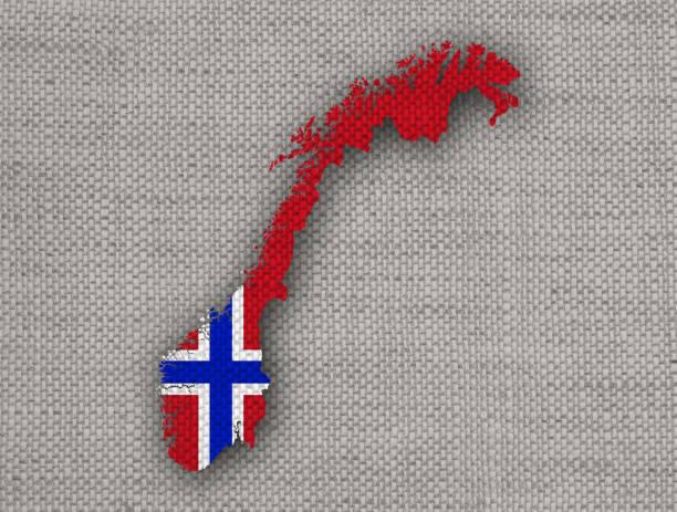karte und flagge norwegens auf leinen - norwegen fahne stock-fotos und bilder