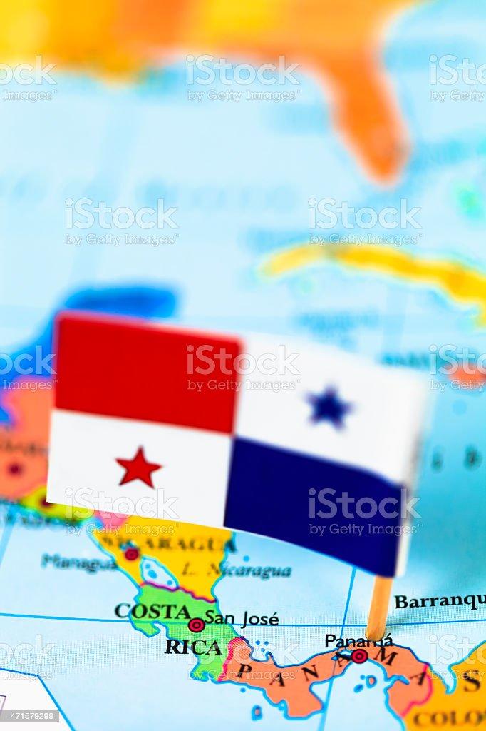 Mapa e a bandeira do Panamá - foto de acervo