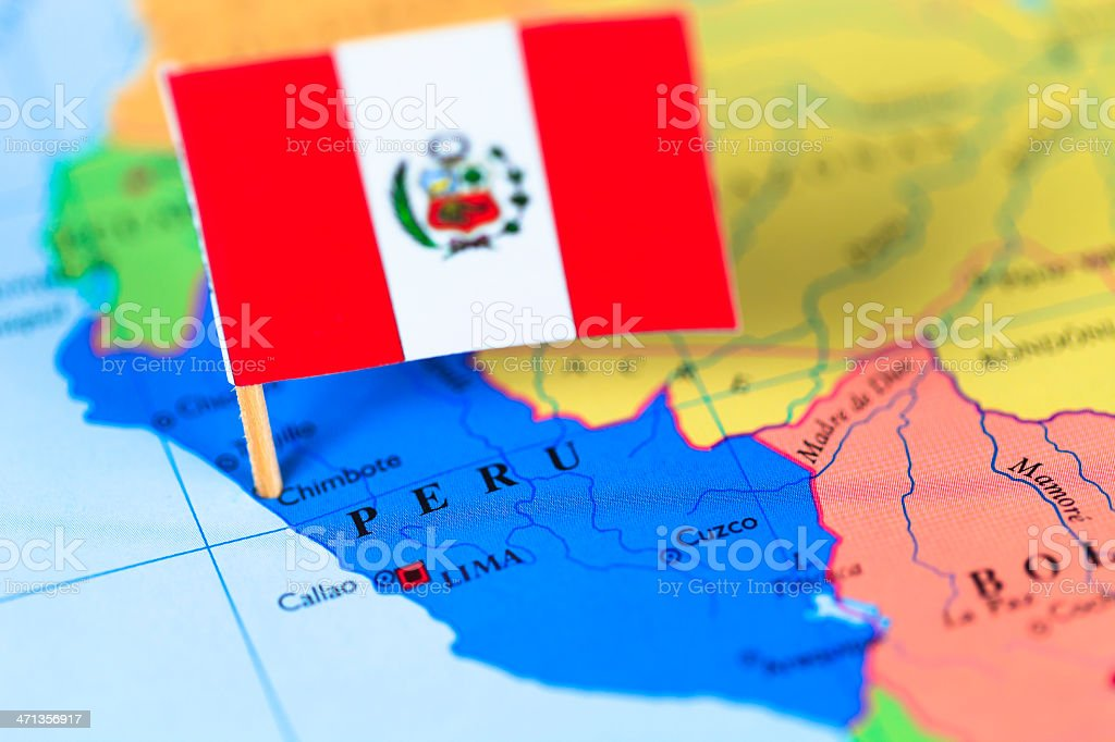Map and flag of Peru stock photo