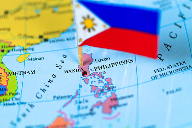 map and flag of philippines - philippines stock photos and pictures